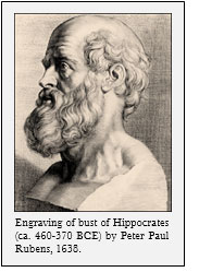 Engraving of bust of Hippocrates (ca. 460-370 BCE) by Peter Paul Rubens, 1638.