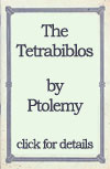 The Tetrabiblos by Ptolemy. Click here for details of online reproduction
